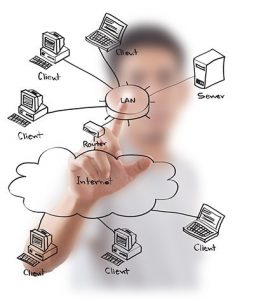 راه اندازی شبکه های کامپیوتری در محل از جمله نیاز هایی است در تمام کسب و کار ها ضروری به شمار می آید. تفاوتی ندارد شما صاحب یک کسب و کار بزرگ باشید و یا شرکت کوچکی را اداره می کنید. در همه این شرایط راه اندازی شبکه های کامپیوتری در محل نیازی اساسی برای شما محسوب می گردد. با استفاده از راه اندازی شبکه های کامپیوتری در محل می توانید روند انجام اتوماسیون اداری را به شکل قابل قبولی تسریع نمایید و بتوانید به صورت کنترل شده دسترسی های مشخصی برای افراد شاغل در مجموعه ایجاد نمایید. نکته مهمی که در خصوص راه اندازی شبکه های کامپیوتری در محل باید به آن توجه شود این است که این کار نیاز به دانش و تخصص ویژه ای دارد و برای انجام آن باید از شرکت های معتبر و کارشناسان برجسته استفاده شود. هر گونه مشکل در راه اندازی این شبکه ها می تواند صدمات جبران ناپذیری به شما وارد آورد. به این معنا که علاوه بر کند شدن روند انجام کار ها در صورتی که به شکل اصولی شبکه ها طراحی و اجرا نشوند ممکن است موجب از دست رفتن اطلاعات مهم شرکت ها شود. راه اندازی شبکه های کامپیوتری در محل روند انجام راه اندازی شبکه های کامپیوتری در محل برای راه اندازی شبکه های کامپیوتری در محل لازم است نیاز های خود را از قبل مشخص نموده و در اختیار کارشناسان قرار دهید. بر اساس نیاز شما و وسعت فعالیتی که دارید طراحی اولیه شبکه کامپیوتری انجام شده و پس از آن کارشناسان با مراجعه به محل شما اقدام به پیاده سازی طرح تولید شده می نمایند. معمولا کار طراحی و اجرای شبکه های کامپیوتری به صورت برون سپاری به شرکت های مربوطه محول می گردد که این امر می تواند موجب صرفه جویی مناسبی در هزینه های شرکت در خصوص راه اندازی و نگهداری از شبکه کامپیوتری گردد. راه اندازی شبکه های کامپیوتری
